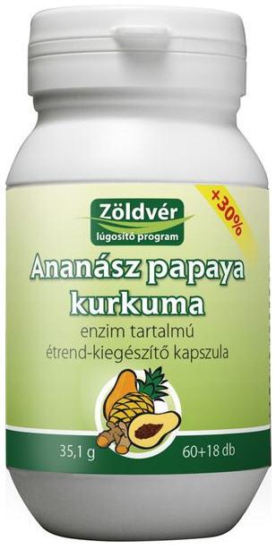 Vásárolni Ananász-papaya-kurkuma kapszula