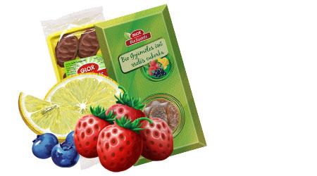 Vásárolni Bio étcsokoládéval mártott gyümölcs ízű zselés cukorka
