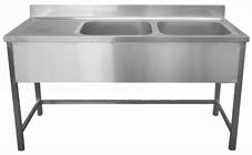 Vásárolni Rozsdamentes két medencés + csepptálcás mosogató asztal - jobb vagy bal oldali csepptálcával