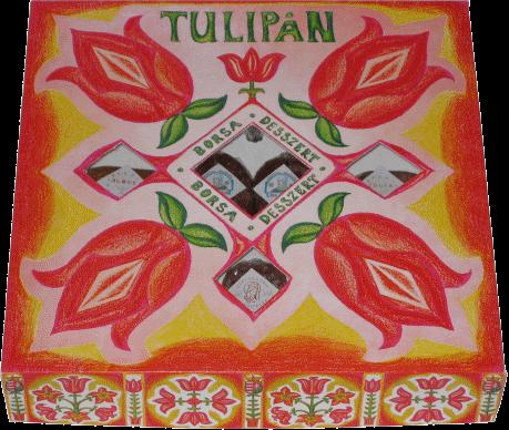 """Vásárolni """"Tulipán"""" négyféle ízű gyümölcsdesszert diszdobozban"""