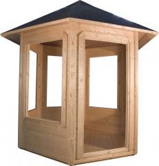 6-szög nyitott pavilon fekete zsindellyel