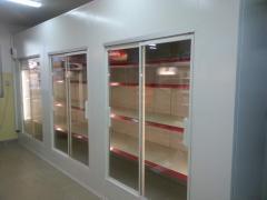 Üvegajtós hűtőkamra, hűtőregál 1600x900x2300 mm