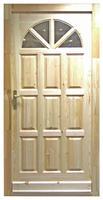 Bejárati ajtó borovi fenyő 100x210 cm napsugaras 5 ponton záródó balos (Mit)