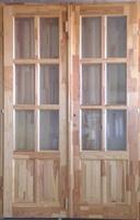 Bejárati ajtó dupla kétszárnyú fabetétes 1400x2100 mm faosztós (Nás)