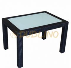 Alumínum asztalka, fehér üveggel