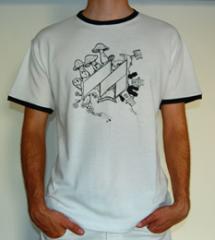 Fehér-fekete Méta gombás férfi póló